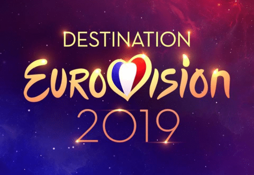 Logo Destination Eurovision. Julien Bocher est la voix off de l'émission Destination Eurovision sur France 2
